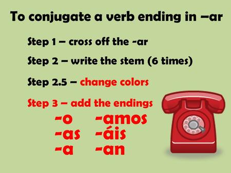To conjugate a verb ending in –ar Step 1 – cross off the -ar Step 2 – write the stem (6 times) Step 2.5 – change colors Step 3 – add the endings -o -as.