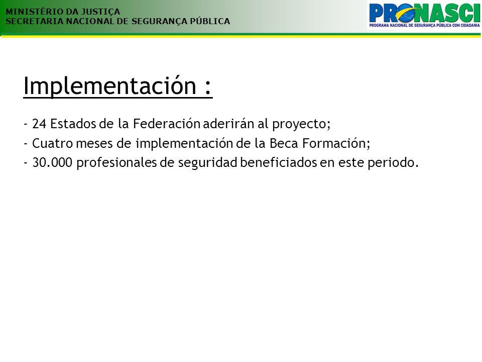 MINISTÉRIO DA JUSTIÇA SECRETARIA NACIONAL DE SEGURANÇA PÚBLICA Criterio para la validación de proyectos Énfasis en la recuperación de capacitación Adecuación a los principios del marco del Programa Nacional de Estudios Pertinencia de la modernización y reaparelhamento de las Academias, Escuelas y Centros de Capacitación Costo y Beneficio Formalización de los procedimientos Convênios