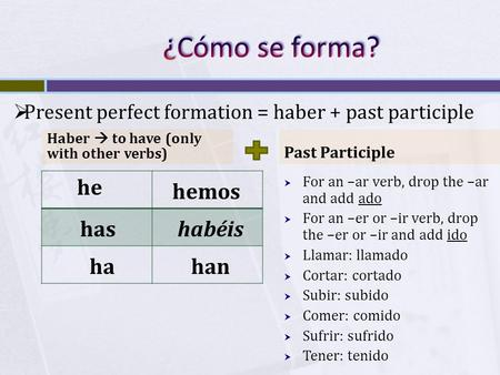 Haber  to have (only with other verbs) Past Participle  For an –ar verb, drop the –ar and add ado  For an –er or –ir verb, drop the –er or –ir and add.