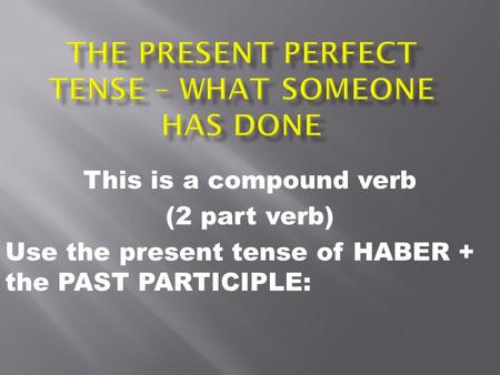 This is a compound verb (2 part verb) Use the present tense of HABER + the PAST PARTICIPLE: