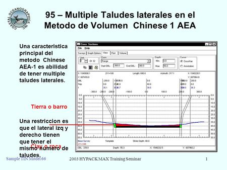 2003 HYPACK MAX Training Seminar1 Sample TIN Model 66 95 – Multiple Taludes laterales en el Metodo de Volumen Chinese 1 AEA Tierra o barro Clay o roca.
