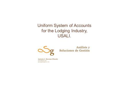 Uniform System of Accounts for the Lodging Industry, USALI.