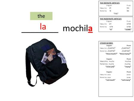 "________ mochila the THE DEFINITE ARTICLES Singular: Plural: Masculino: ellos Femenina: lalas ""THE"" THE INDEFINITE ARTICLES Singular: Plural: Masculino:"