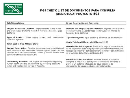F-25 CHECK LIST DE DOCUMENTOS PARA CONSULTA (BIBLIOTECA) PROYECTO 503 Brief Description:Breve Descripción del Proyecto: Project Name and Location : Improvements.