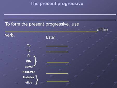 The present progressive____________________________________________ To form the present progressive, use ____________________________________of the verb.