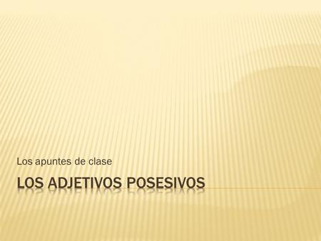 Los apuntes de clase.  In Spanish, there are singular and plural possessive adjectives.  Possessive adjectives are placed directly in front of the noun.