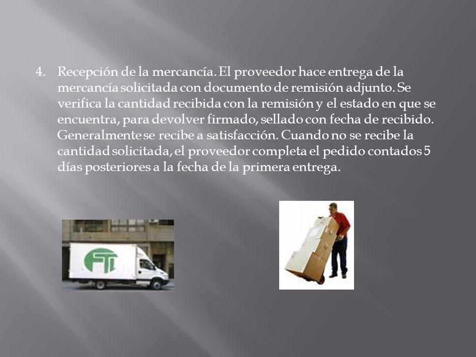 5.La persona encargada de inventarios, distribuye los materiales en sus respectivas bodegas, de acuerdo a sus especificaciones.