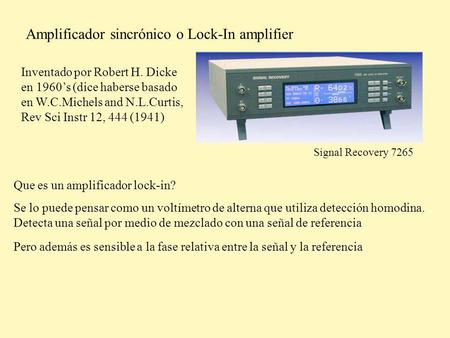 Amplificador sincrónico o Lock-In amplifier