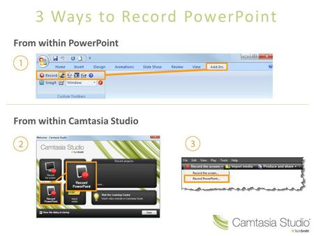 3 Ways to Record PowerPoint From within PowerPoint From within Camtasia Studio.