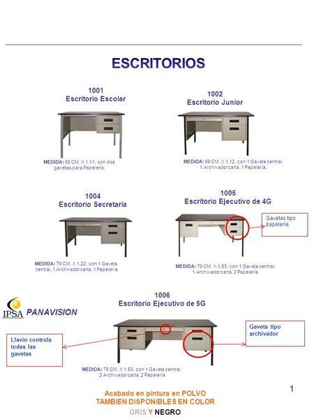 Catalogo productos y servicos ppt descargar for Medidas de un escritorio