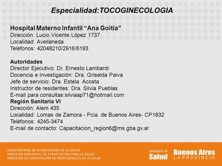 Especialidad:TOCOGINECOLOGIA