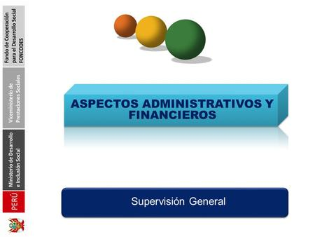 ASPECTOS ADMINISTRATIVOS Y FINANCIEROS Supervisión General.