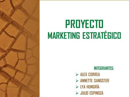 PROYECTO MARKETING ESTRATÉGICO INTEGRANTES: ALEX CORREA ANNETTE SANGSTER LYA HUNGRÍA JULIO ESPINOZA.