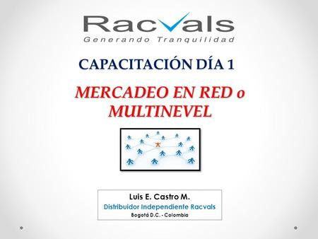 MERCADEO EN RED o MULTINEVEL Distribuidor Independiente Racvals