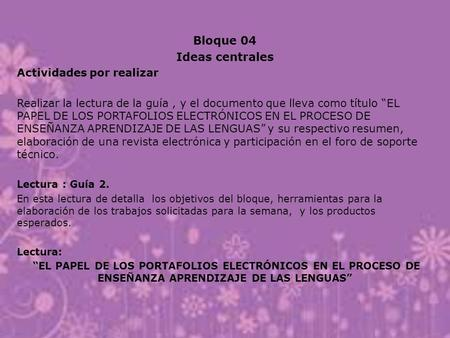 Bloque 04 Ideas centrales