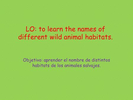 LO: to learn the names of different wild animal habitats. Objetivo: aprender el nombre de distintos habitats de los animales salvajes.