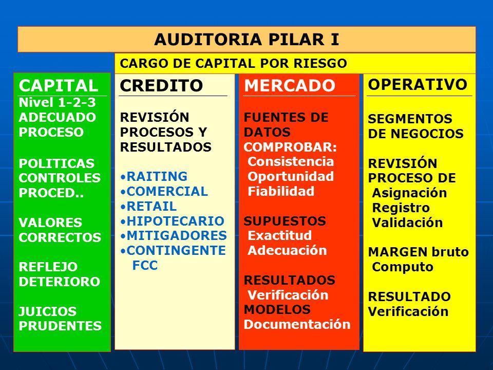 AUDITORIA PILAR II REQUERIMIENTOS DE CAPITAL POR PRUEBAS DE TENSIÓN RIESGO DE CRÉDITO, MERCADO, OPERATIVO REVISIÓN MODELOS EXACTITUD DE DATOS VALIDEZ Y RACIONALIDAD DE ESCENARIOS ANÁLSIS DE SUPUESTOS