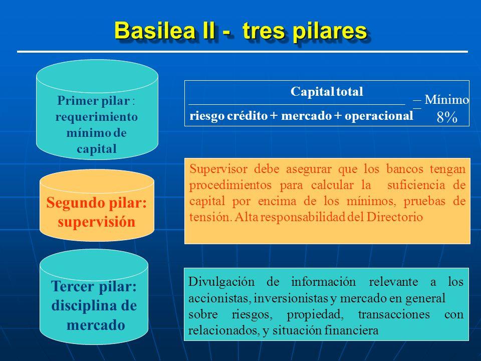 BASILEA ll – PILAR I ELEMENTOS DEL CAPITAL NIVELIIIIII Capital accionario/acciones comunes pagados Reservas reveladas Reservas no reveladas Reservas de reevaluación de activos Provisiones/reservas generales, pérdida por préstamo Instrumentos de capital híbrido (deuda/patrimonio) Deuda subordinada Deuda subordinada a corto plazo, (para Capital RM) ELEMENTOS Deducción agregada por Basilea II Inversión en bonos securitización, con calificación deficiente, originador, inferior a BBB - Inversor, inferior a BB