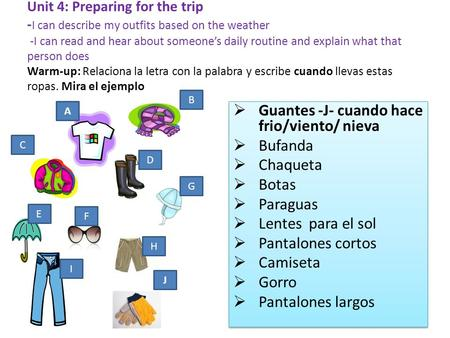 Unit 4: Preparing for the trip - I can describe my outfits based on the weather -I can read and hear about someones daily routine and explain what that.