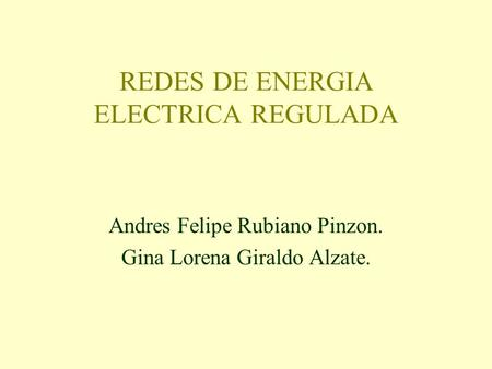 REDES DE ENERGIA ELECTRICA REGULADA