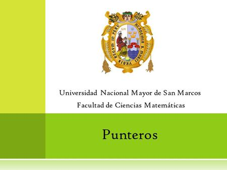 Punteros Universidad Nacional Mayor de San Marcos