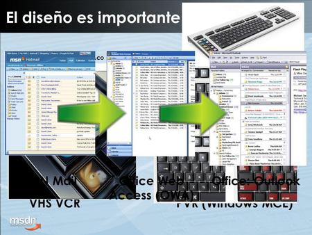 VHS VCRPVR (Windows MCE)  m/ MSN MailOffice Web Access (OWA) Office: Outlook El diseño es importante.