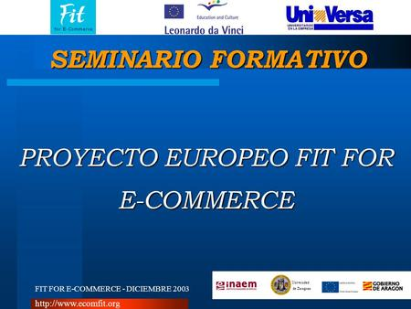 FIT FOR E-COMMERCE - DICIEMBRE 2003 Universidad de Zaragoza  PROYECTO EUROPEO FIT FOR E-COMMERCE SEMINARIO FORMATIVO.
