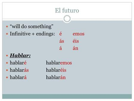 "El futuro ""will do something"" Infinitive + endings: é emos ás éis á án"