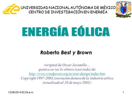 ENERGÍA EÓLICA Roberto Best y Brown