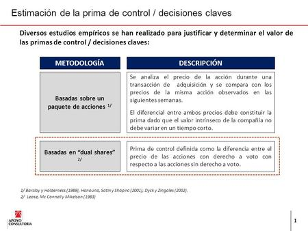 Estimación de la prima de control / decisiones claves