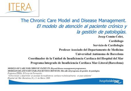 The Chronic Care Model and Disease Management