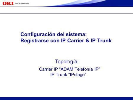 Copyright 2005 Oki Electric Industry Co.,Ltd. c S OKI CONFIDENTIAL Configuración del sistema: Registrarse con IP Carrier & IP Trunk Carrier IP ADAM Telefonía.