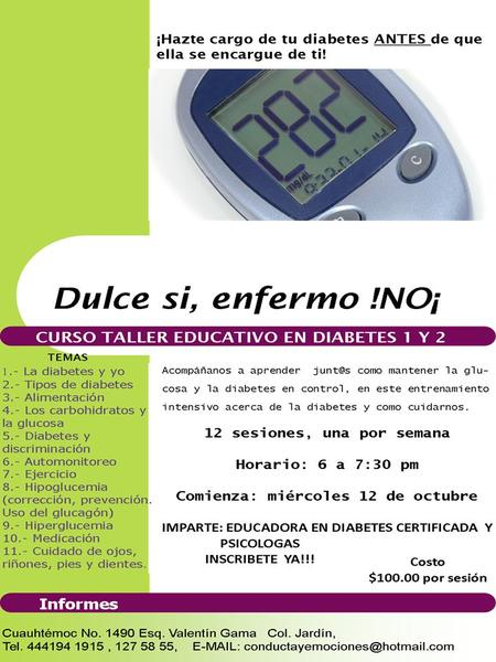 CURSO TALLER EDUCATIVO EN DIABETES