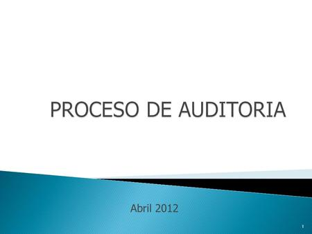 PROCESO DE AUDITORIA Abril 2012.