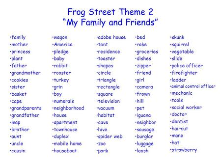 "Frog Street Theme 2 ""My Family and Friends"""