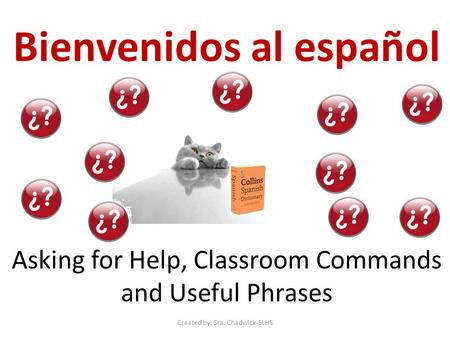Bienvenidos al español Asking for Help, Classroom Commands and Useful Phrases Created by: Sra. Chadwick-SLHS.