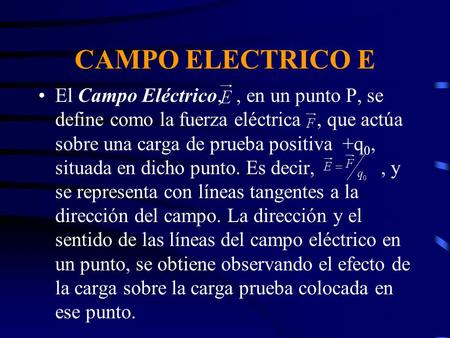 Que significa e en campo electrico