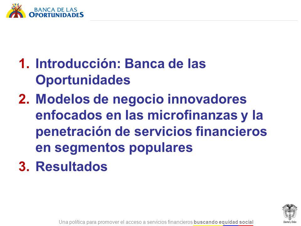 Una política para promover el acceso a servicios financieros buscando equidad social Política Nacional de Inclusión Financiera de Colombia, creada en 2006, para promover el acceso de la población no atendida por el sector financiero para reducir la pobreza, promover la igualdad social y estimular el desarrollo económico del país.