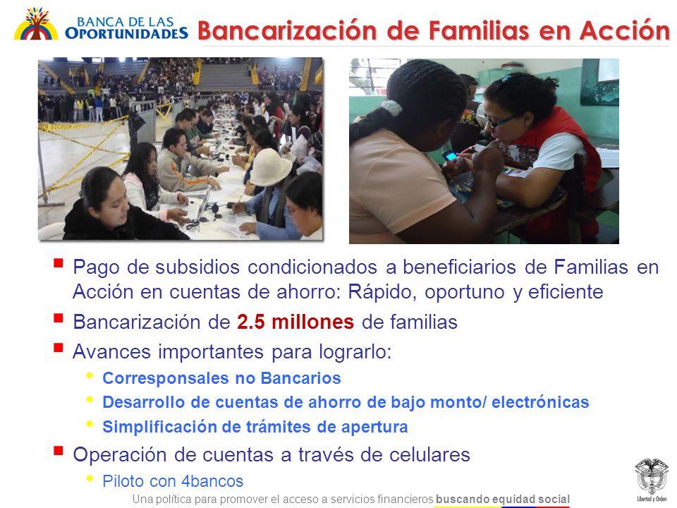 Una política para promover el acceso a servicios financieros buscando equidad social Promoción de la cultura de ahorro para población en extrema pobreza: Beneficiarios de Familias en Acción y Red Unidos.