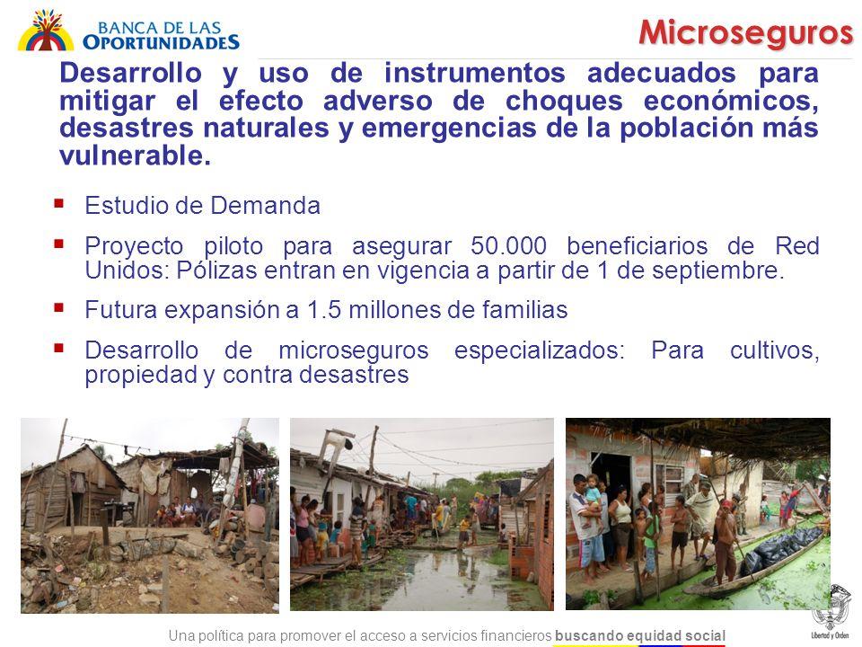 Una política para promover el acceso a servicios financieros buscando equidad social Para mejorar la capacidad de la población en pobreza de administrar sus finanzas personales, dando información completa sobre los beneficios y principios de usar servicios financieros (ahorro, crédito y microseguros) y conceptos básicos como presupuesto y planeación financiera Educación Financiera Adaptación del Programa Global de Educación Financiera de Microfinance Opportunities al contexto de Colombia Programa para promover la cultura del ahorro de los beneficiarios de subsidios condicionados (FA) : Para mejorar los hábitos de ahorro y potenciar el uso de otros servicios financieros Programa para familias de Red Unidos: Piloto Proyecto con el Banco de la República para incluir la educación financiera en el pensum de los colegios Estrategias de alcance masivo (radio, TV celulares) para llegar a más personas a un bajo costo
