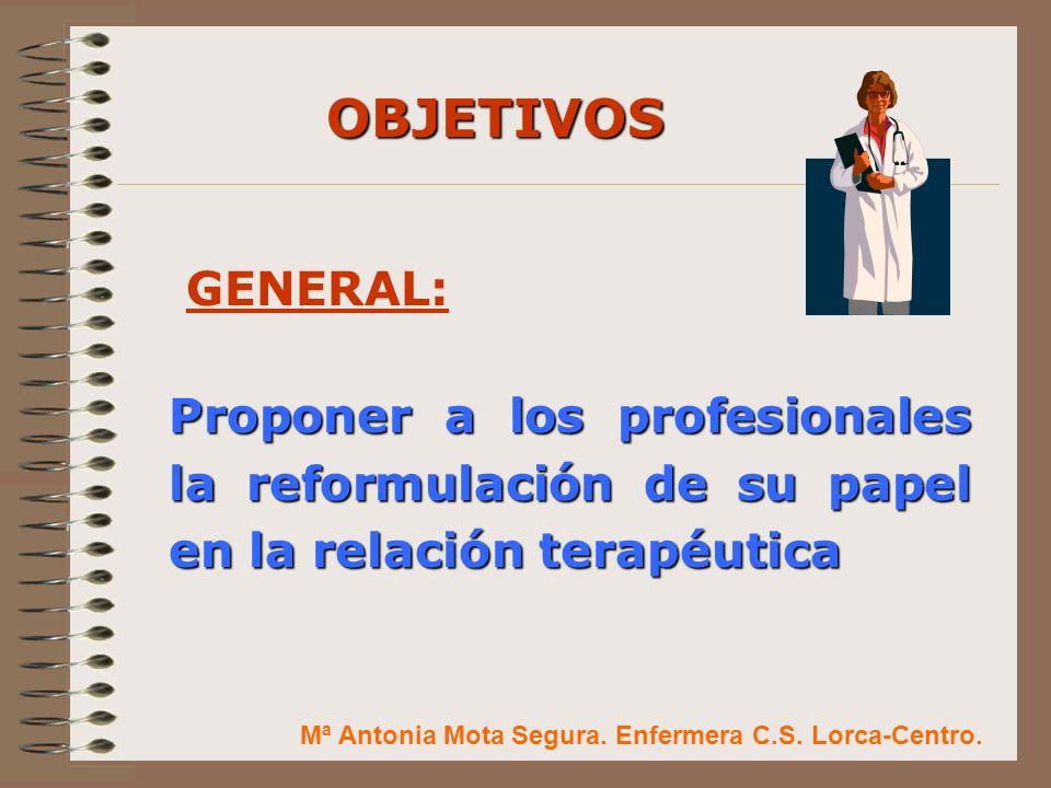 1.- Proponer el pacto de cuidados con el paciente para superar la frustración de los malos resultados de la práctica clínica cotidiana OBJETIVOS ESPECÍFICOS: Mª Antonia Mota Segura.