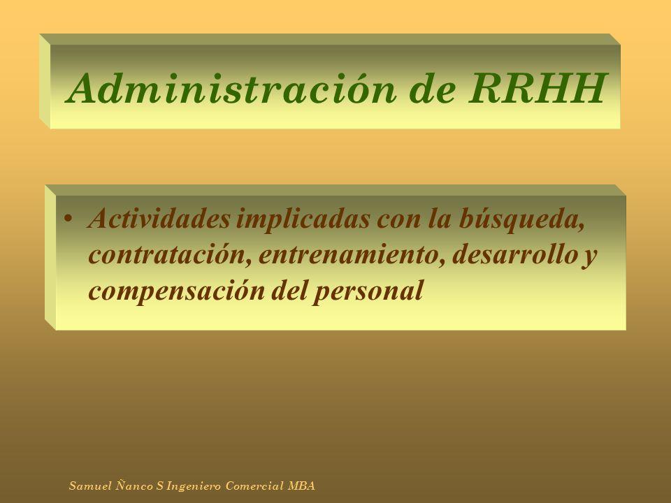 Infraestructura Actividades de administración general, planeación, finanzas, contabilidad, asuntos legales, gubernamentales y administración de la calidad Samuel Ñanco S Ingeniero Comercial MBA