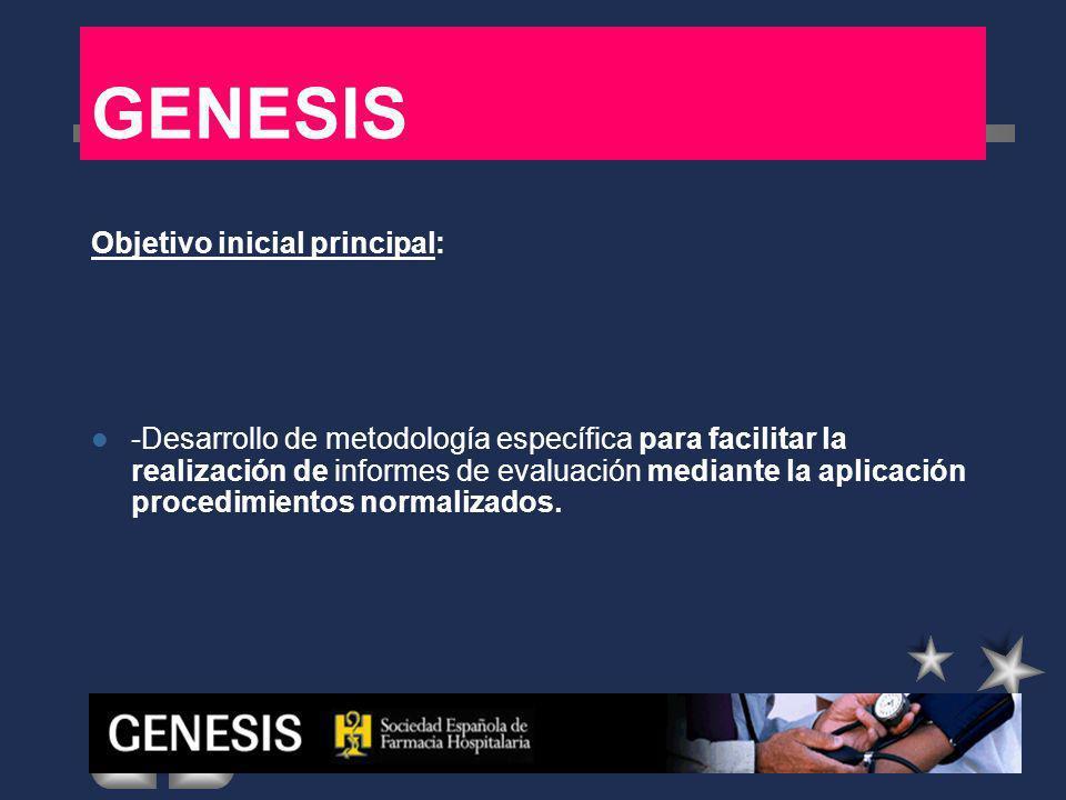 GENESIS Objetivos secundarios -Realizar la difusión de la metodología para que pueda ser aplicada en los diferentes hospitales.