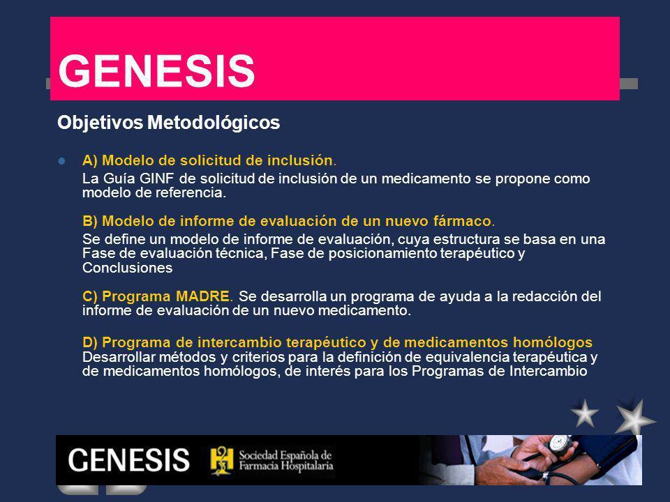EVALUACION DE NUEVOS MEDICAMENTOS Modelo de Solicitud Modelo de Informe Programa MADRE INTERCAMBIO TERAPEUTICO PITs Medicamentos homólogos GENESIS Metodología: Programa MADRE