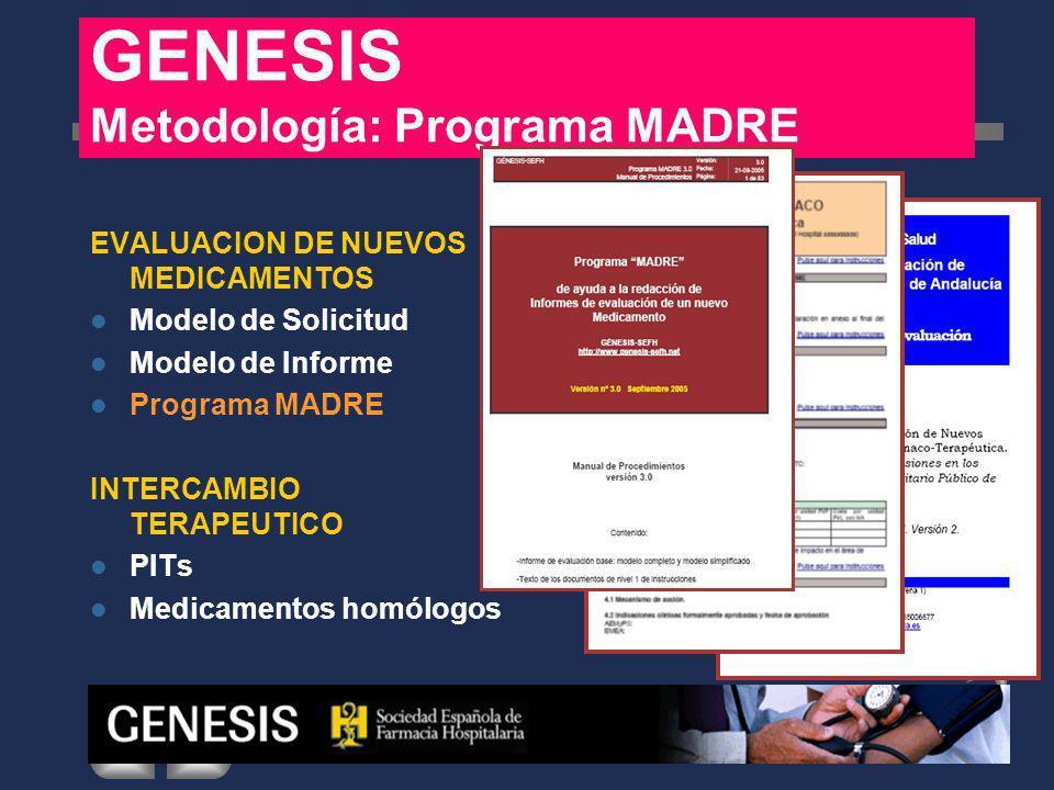 EVALUACION DE NUEVOS MEDICAMENTOS Modelo de Solicitud Modelo de Informe Programa MADRE INTERCAMBIO TERAPEUTICO PITs Medicamentos homólogos GENESIS Metodología: PIT