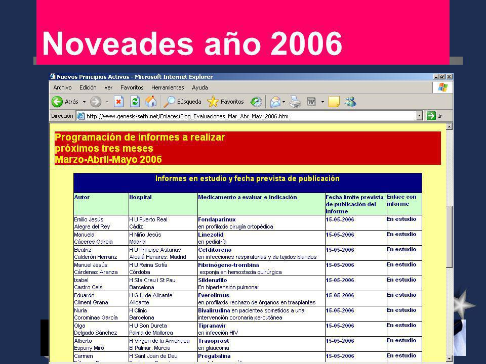 Objetivos año 2006 Página web: Mantener y ampliar el acceso a informes de evaluación