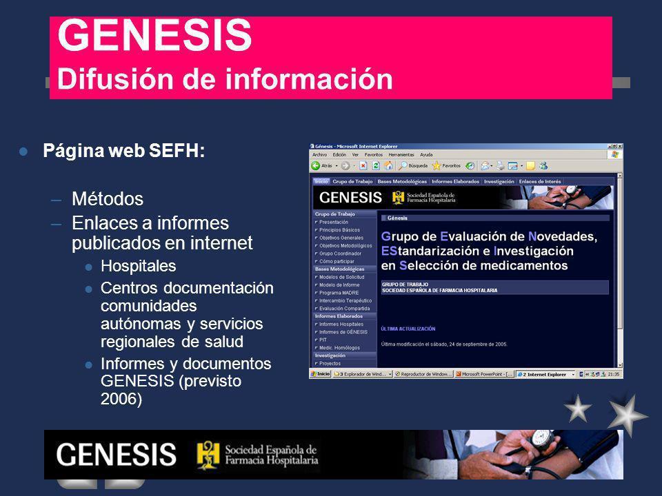 Página web GENESIS INFORMES HOSPITALES ZONA AZUL : –132 INFORMES 5 HOSPITALES PUBLICAN EN WEB PROPIA 3 HOSPITALES PUBLICAN EN WEB DE GENESIS