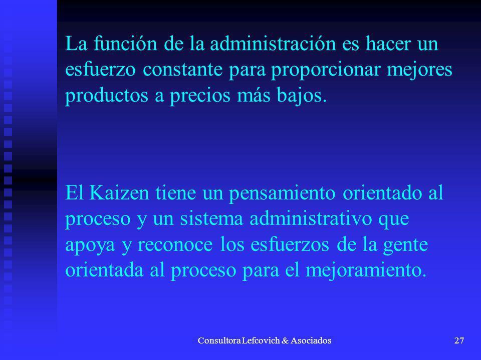 Consultora Lefcovich & Asociados28 El Kaizen no requiere de técnicas sofisticadas o tecnologías avanzadas.
