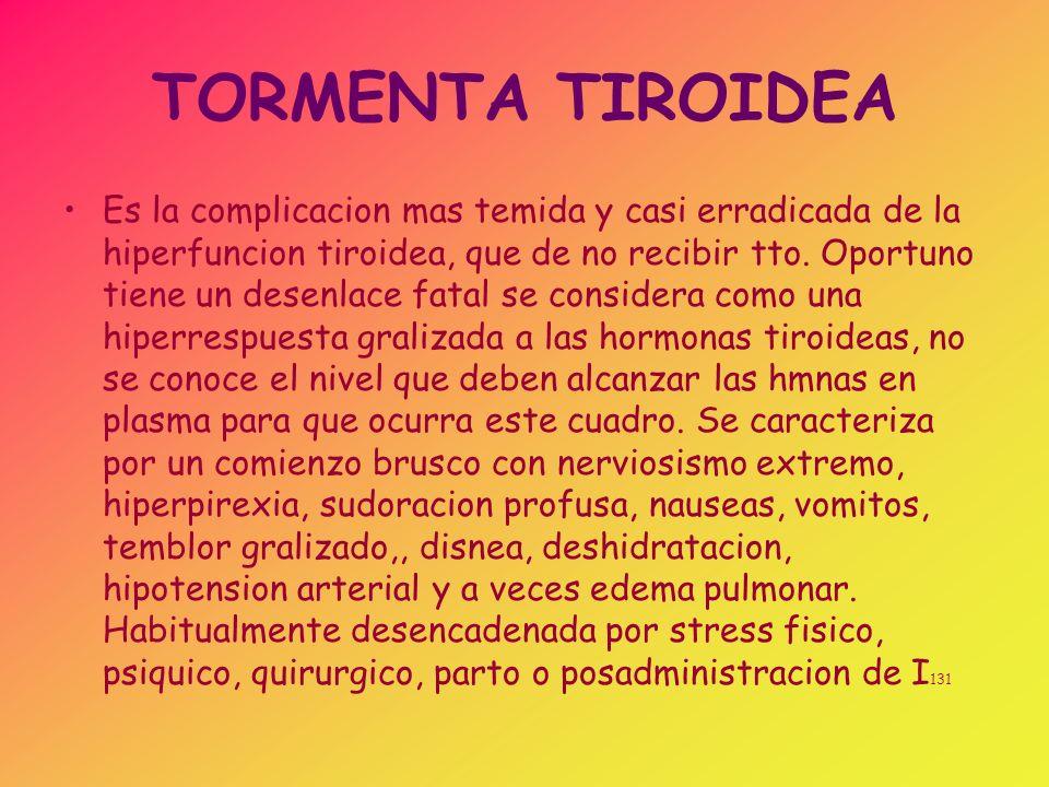 DX DE TIROTOXICOSIS Se hara ante la sospecha clinica, Indice de tirotoxicosis> 19 Niveles elevados de tiroxina, determinada como hormona libre o como indice de T4l (libre).