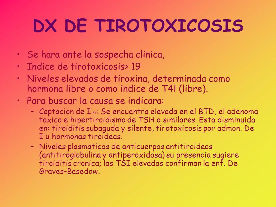DX DE TIROTOXICOSIS –Rx de Craneo: TAC de la region hipofisaria o la laparoscopia, segun se piense en las tres causas del sindrome.